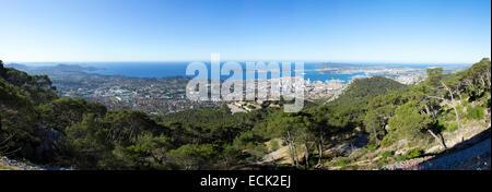 France, Var, Toulon, harbor from Mount Faron - Stock Photo