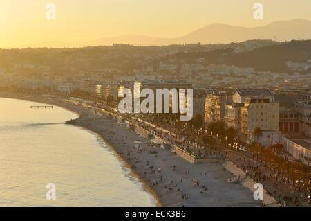 France, Alpes-Maritimes, Nice, the Promenade des Anglais from the castle hill - Stock Photo