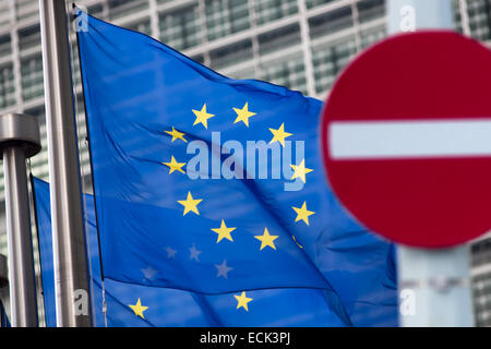 Russia sanctions. 'No entry' sign in front of European comission flags. - Stock Photo