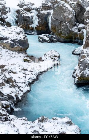 Iceland, Vesturland region, Borgarnes, waterfalls of Barnefoss - Stock Photo