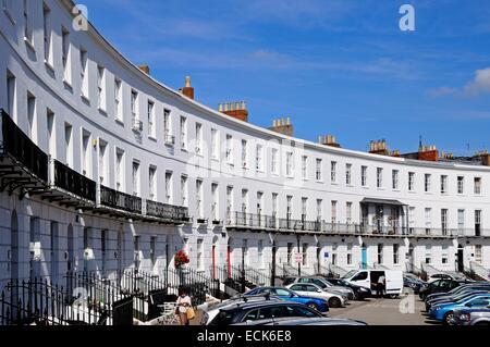The Royal Crescent buildings, Cheltenham, Gloucestershire, England, UK, Western Europe. - Stock Photo