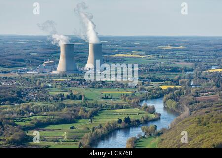 France, Vienne, Civaux, nuclear power station near the Vienne river (aerial view) - Stock Photo