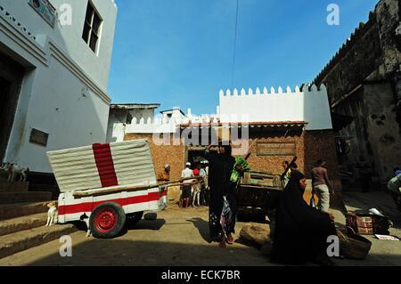 Kenya, Lamu archipelago, Lamu, market scene - Stock Photo