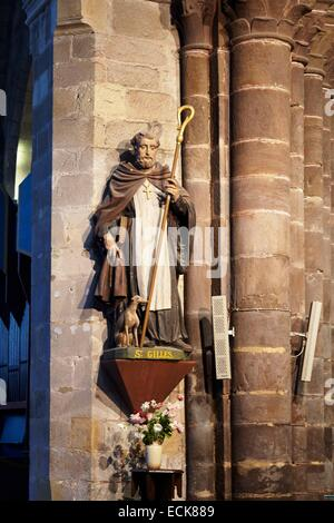 France, Morbihan, Malestroit, Saint Gilles church, St. Gilles statue - Stock Photo