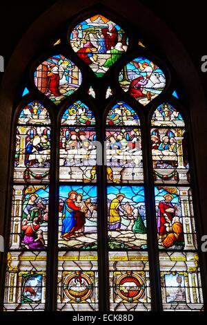 France, Morbihan, Malestroit, Saint Gilles church, stained glass - Stock Photo