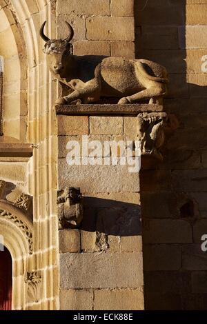 France, Morbihan, Malestroit, Saint Gilles church, Ox Sculpture at rest, attribute of St.Luc - Stock Photo