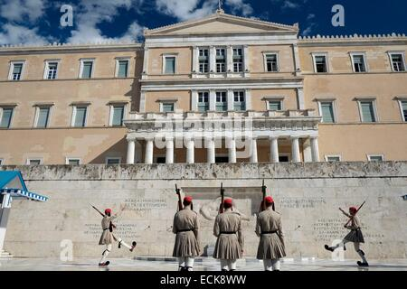 greece athens syntagma square evzones soldiers guarding ...