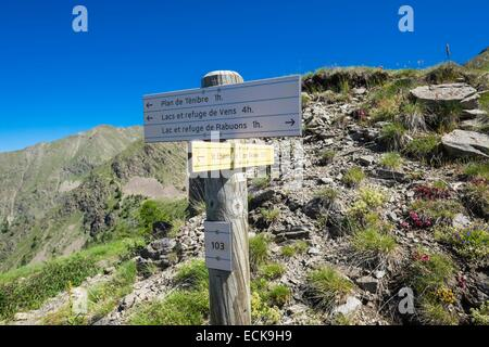 France, Alpes-Maritimes, Mercantour National Park, hiking on the Energie path - Stock Photo