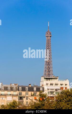 France, Paris, the Eiffel Tower and Parisian buildings - Stock Photo