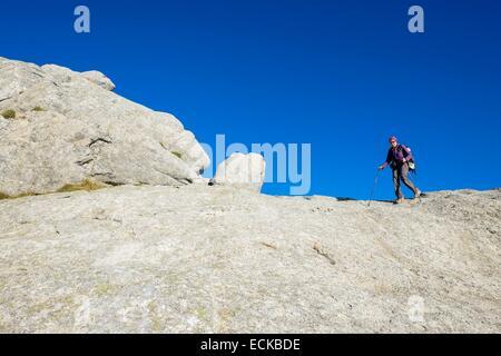 France, Corse du Sud, hiking on the GR 20, between Usciolu refuge and Prati refuge - Stock Photo