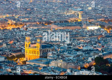 France, Paris, general view with Saint Sulpice church in the foreground - Stock Photo
