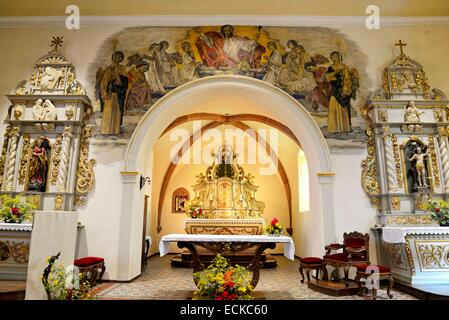France, Bas Rhin, Neuve Eglise, Saint Nicolas church, the choir, fresco RenΘ Kuder 1955 triumphant Christ - Stock Photo