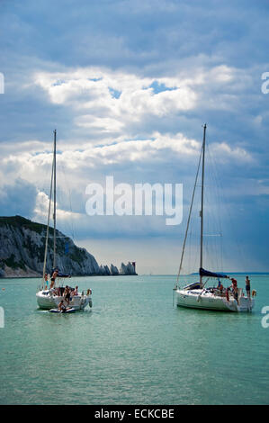 Vertical view of yachts anchored close to the Needles in the Isle of Wight. - Stock Photo