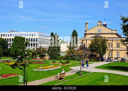 Flowerbeds in the Imperial Gardens with the town hall on the right hand side, Cheltenham, Gloucestershire, England, - Stock Photo