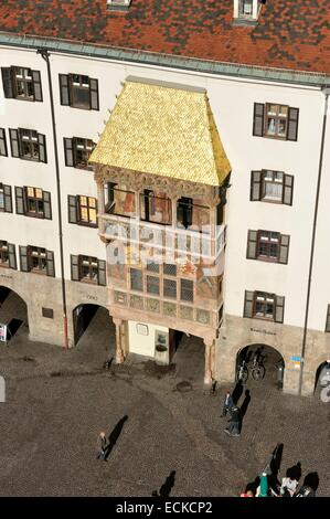 Austria, Tyrol, Innsbruck, Herzog-Friedrich street in the historical center, the frontage of the Small Gold Roof - Stock Photo