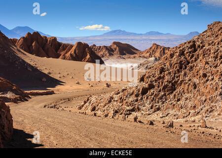 Chile, El Norte Grande, Antofagasta Region, Salar de Atacama, Valle de la Luna (Valley of the Moon), road through - Stock Photo