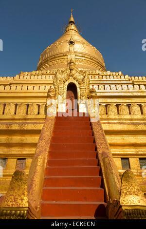 Myanmar (Burma), Mandalay Division, Nyaung U, Shwezigon Pagoda, Central Zedi and Stairs - Stock Photo