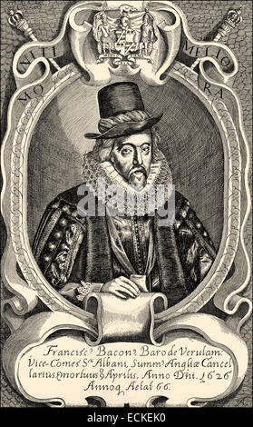 Francis Bacon or Baron Baco of Verulam, 1561 - 1626, an English philosopher, statesman and scientist, Francis Bacon - Stock Photo