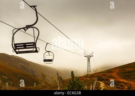 United Kingdom, Scotland, Cairngorms National Park, Cairngorm Mountains, landscape, remnants of an old ski resort - Stock Photo