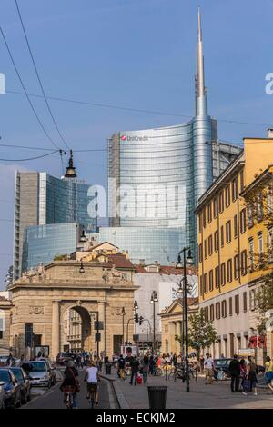 Italy, Lombardy, Milan, Corso Garibaldi, the door Garibaldi of the architect Giacomo Moraglia and view of the district - Stock Photo