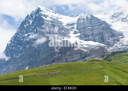 Switzerland, canton of Bern, Grindelwald, listed as World Heritage by UNESCO, train to Jungfraujoch, the highest - Stock Photo