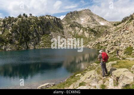 France, Hautes Pyrenees, Aragnouet, Aure valley, Neouvielle Natural Reserve, Madamete lake - Stock Photo