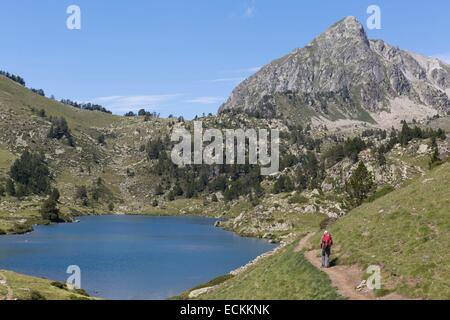 France, Hautes Pyrenees, Aragnouet, Neouvielle natural reserve, Aure valley, Bastan lake and peak - Stock Photo