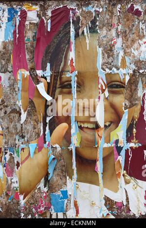 Burkina Faso, Bobo Dioulasso, Toussiana, texture of a torn poster advertising - Stock Photo