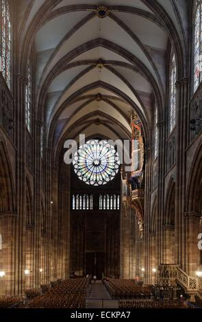 France, Bas Rhin, Strasbourg, old town listed as World Heritage by UNESCO, Notre Dame Cathedral, rose 15 m in diameter, - Stock Photo