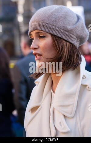 Westminster, London, December 16th 2014. Actress Gemma Arterton who stars in the West End Musical Made in Dagenham, - Stock Photo