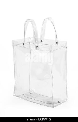 Empty transparent plastic bag, isolated on white background. - Stock Photo