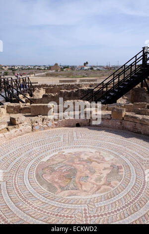 Mosaic in the House of Theseus, Pafos shows Theseus and the Minotaur.  3rd century AD, restored 4th C. - Stock Photo