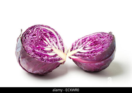 Cut red cabbage isolated on white background. - Stock Photo