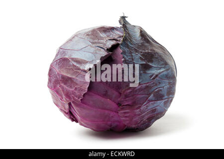 Fresh red cabbage isolated on white background - Stock Photo