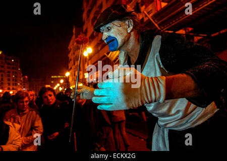 During Las Fallas, a traditional festival in Valencia Spain Mime - Stock Photo