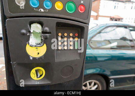Vandalism / vandalised pay and display meter / machine to issue pay display tickets for parking on street or in - Stock Photo