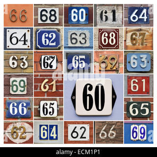 Collage of House numbers 60s - Stock Photo