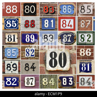 Collage of House numbers 80s - Stock Photo