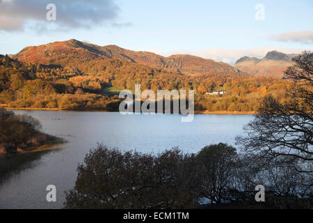 Lingmoor Fell from Elterwater Lake - Stock Photo