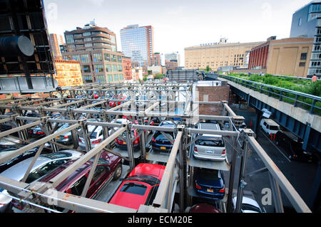 USA, New York, New York City,  Manhattan, West Side, Meat Packing District, High Line Elevated Park, Vertical Parking - Stock Photo
