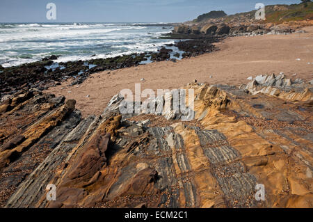 CA02497-00...CALIFORNIA - Colorful layered and eroded sandstone at Pescadero State Beach. - Stock Photo