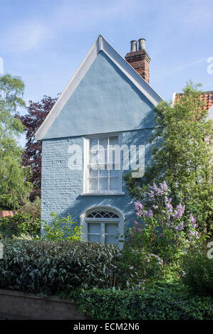 Blue Painted Cottage in Ferry Lane Norwich Norfolk England - Stock Photo