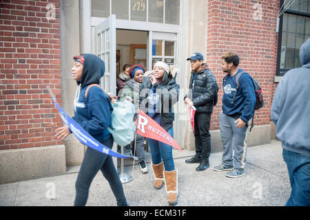 College bound students from the NYC Outward Bound James Baldwin School leave the Old Chelsea Post Office in New - Stock Photo