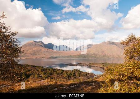 A view of Beinn Alligin looking across Upper Loch Torridon, Wester Ross Scotland - Stock Photo