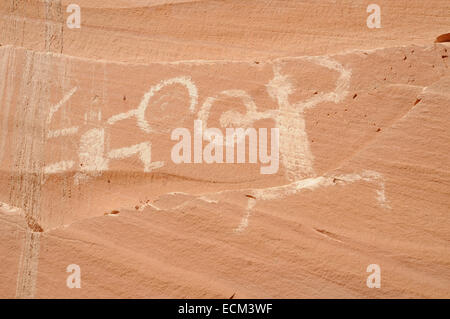 Pictographs at defiance Hose, Forgotten Canyon, Lake Powell, Utah, USA - Stock Photo