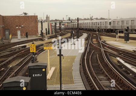 Elevated subway train tracks, Stillwell Avenue Station, Coney Island, Brooklyn, NY. - Stock Photo