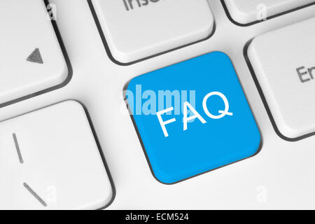FAQ button on keyboard with soft focus - Stock Photo