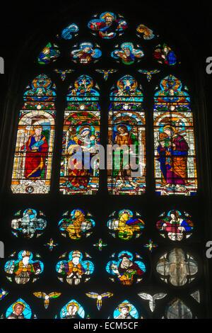 stained glass window, Basilica di San Giovanni e Paolo, Venice, Italy - Stock Photo