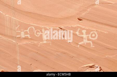 Pictographs at defiance Hose, Forgotten Canyon, Lake Powell, Utah, USA - Stock Photo