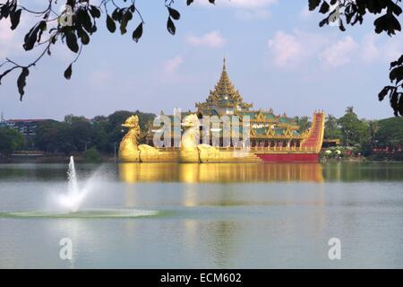 Floating royal barge in Yangon, Myanmar - Stock Photo